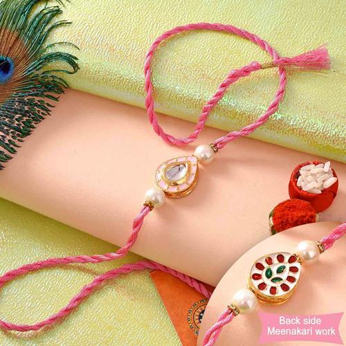Pure Kundan and Meena Pink Rakhi