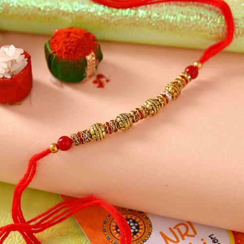 Ruby Red Beads Antique Rakhi