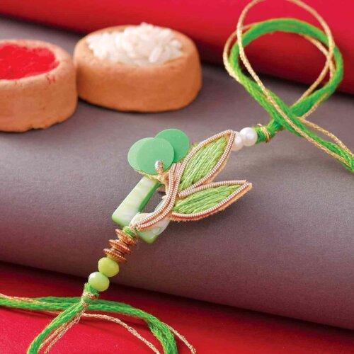 Green Leaf Design Rakhi