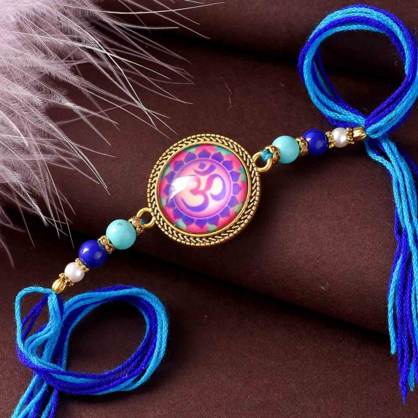 Traditional OM Rakhi With Colorful Beads