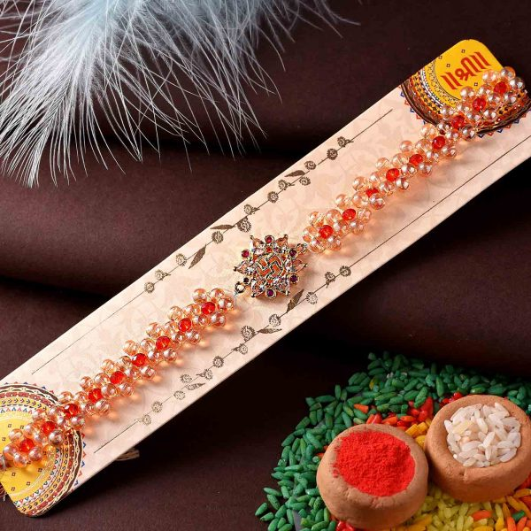 Handcrafted Swastik Rakhi With Unique Beaded Work