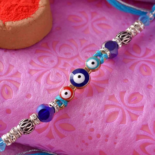 Artistic Blue Rosary Rakhi