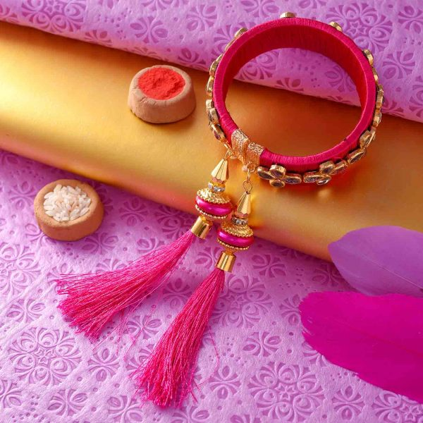 Pink Lumba Rakhi With Floral Design