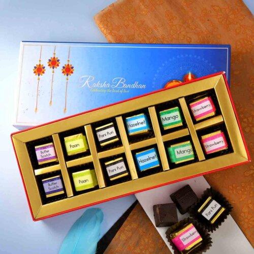 Handmade Assorted Chocolate Box (12 Piece )Flavours :Hazelnut , Paan ,Mango,Butter scotch , Pani puri, Strawberry