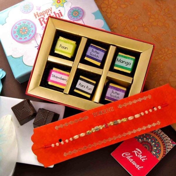 An All Beads Rakhi With 6 Piece Handmade Assorted chocolate Box