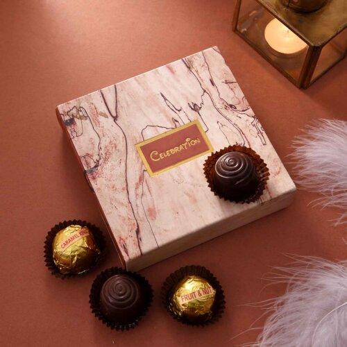 Handmade Assorted chocolate Box (4 Pieces){Hazelnuts Almond Fudge, Coffe Bites, Almond Supreme, Carmel King}