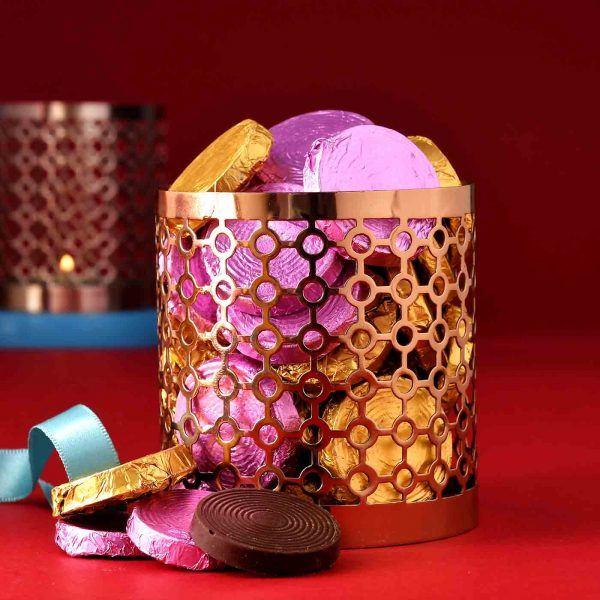 Handmade Assorted chocolate Box (350 Gms) in H&M Fancy Tin Perforated Vases