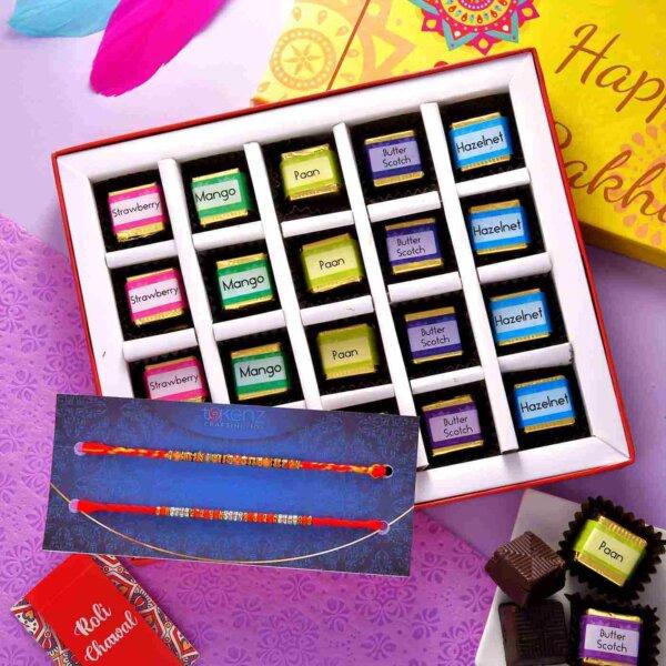 Set of 2 Designer Rakhis With 20 Piece Handmade Assorted chocolate Box