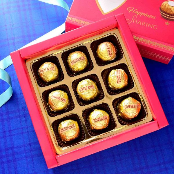 Handmade Assorted chocolate Box (9 Pieces){Hazelnuts Almond Fudge, Coffe Bites, Almond Supreme, Carmel King}