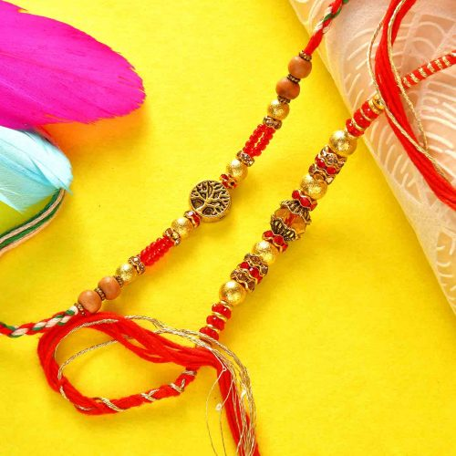 Set Of 2 Colorful Beads Rakhis With A 12 Piece Handmade Assorted chocolate Box