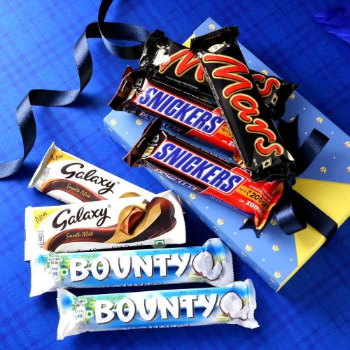 2 Galaxy Chocolate Bars(30 Gms each), 2 Snickers Chocolate Bars (45 Gms each), 2 Mars Chocolate Bars (45 Gms each), 2 Bounty Chocolate Bars (57 Gms each)
