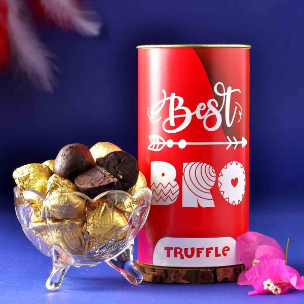 Set Of 2 Brown Beads Rakhis With Handmade Chocolate Truffle (200 Gms)
