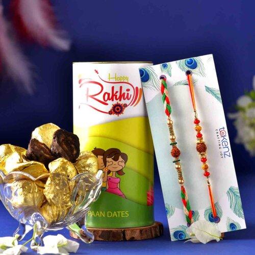 Set Of 2 Rudraksha Rakhis With Handmade Chocolate Pan Dates (200 Gms)
