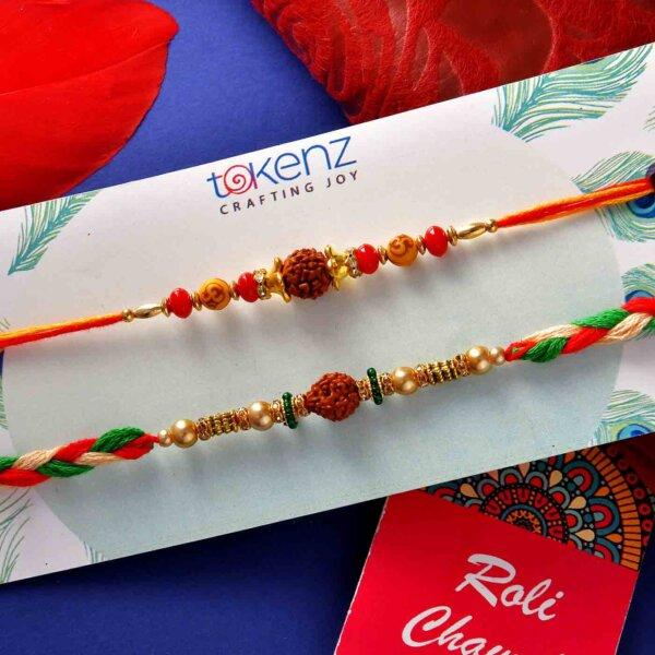Set Of 2 Rudraksha Beads Rakhis With Handmade Chocolate Brownie (200 Gms)