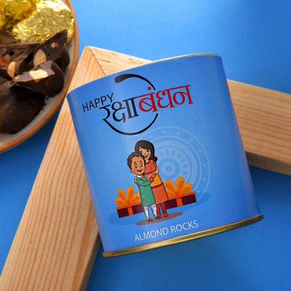 Blue Evil-Eye Rakhi With A Handmade Chocolate Almond Rocks Can (100 Gms)