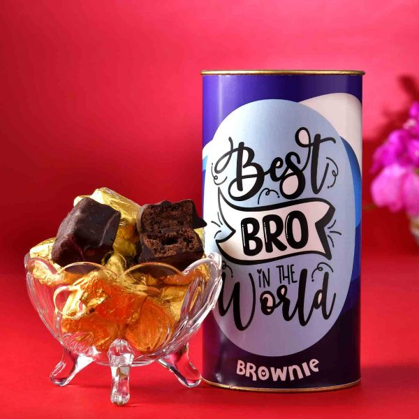 Set of 2 Designer Heavy-Work Rakhis With Handmade Chocolate Brownie (200 Gms), Chocolate Dipped Blueberry Dates (100 Gms)