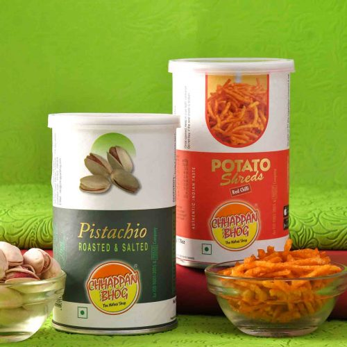 Roasted & salted Pistachios Can (100 gm), Potato shreds (60 Gms)