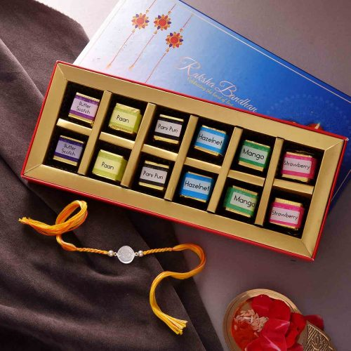 Silver Work Rakhi With Handmade Flavored Chocolate Box (12 nos.)