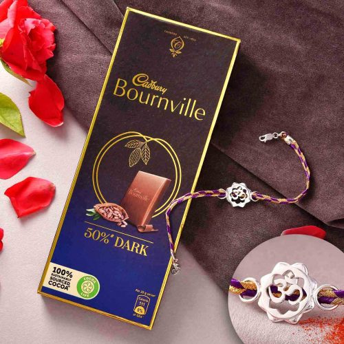 Bracelet Style Silver OM Rakhi With Cadbury Bournville 50% Dark