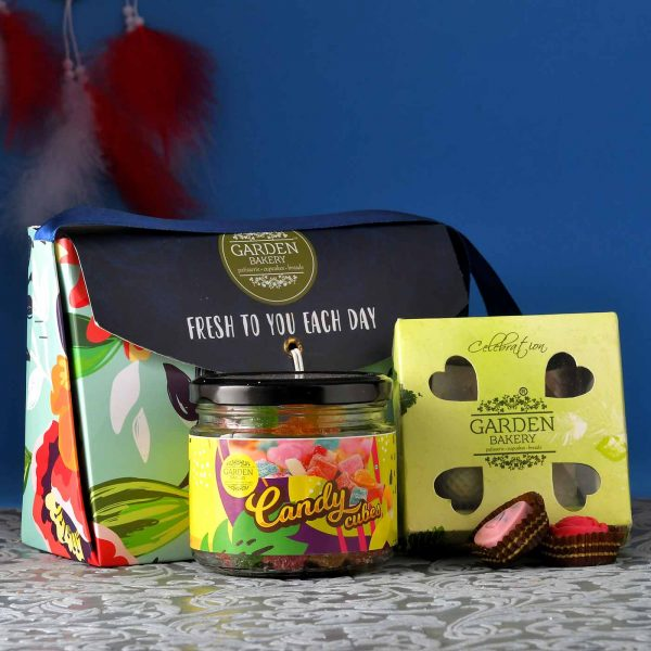 Elegant Rakhi With A Exotic Choco-Candy Purse (4 Piece Choclate Box, Candy Jar)