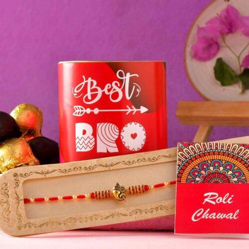 Ganpati Rakhi With Handmade Chocolate Truffle (100 Gms)
