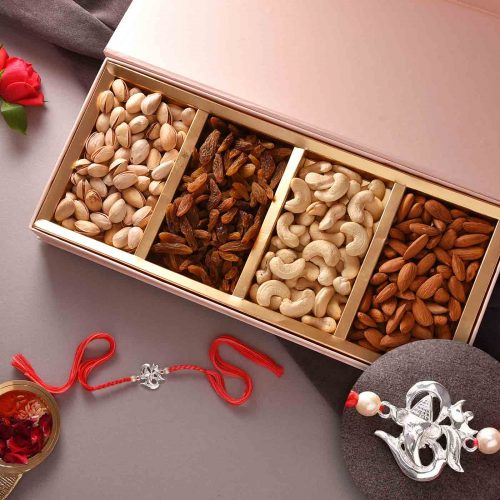 Exclusive Silver Design Rakhi With Dry Fruit Box