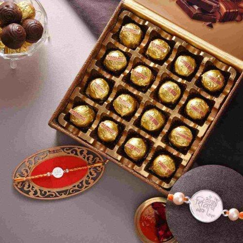 Designer Silver Rakhi With Handmade Assorted Chocolate Box (16 nos.)