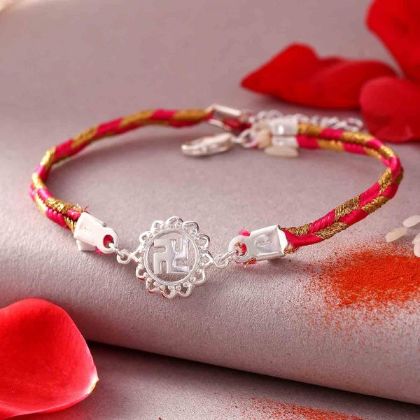 Silver Swastik Rakhi In A Bracelet Style & Kaju Anjeer Barfi (200gms)