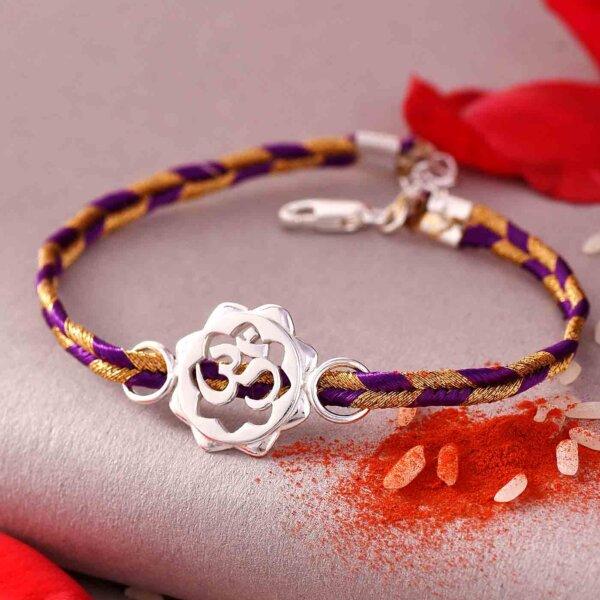 Bracelet Style Silver OM Rakhi