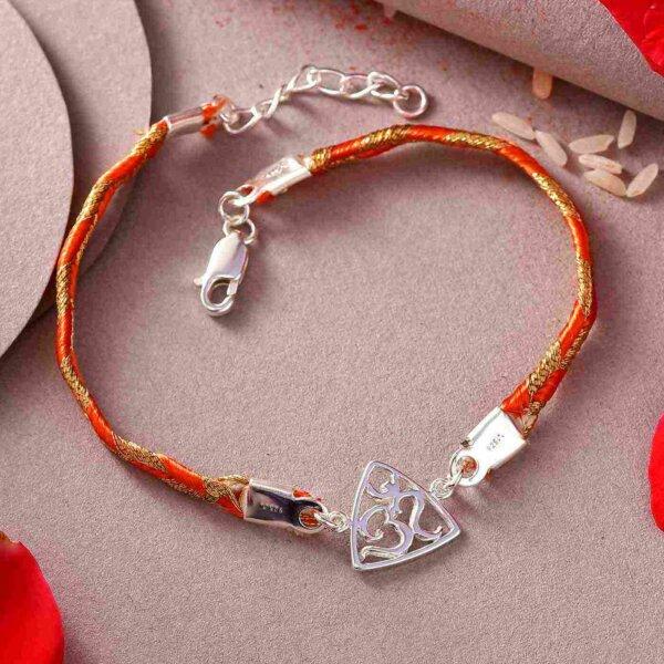 Sterling Silver OM Rakhi In A Bracelet Style