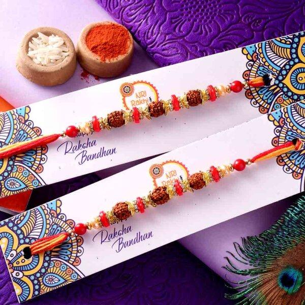 Pair of Rudraksha Rakhis With Colorful Beads