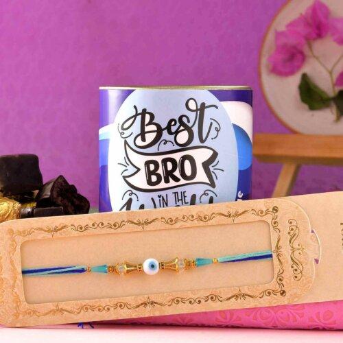 Single Blue Evil-Eye Rakhi With Handmade Chocolate Brownie (100 Gms)