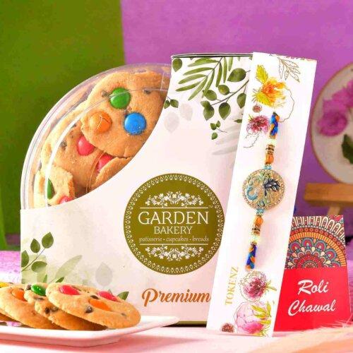 Designer Silver Rakhi With Chocolate Gem's Cookies (200 Gms)
