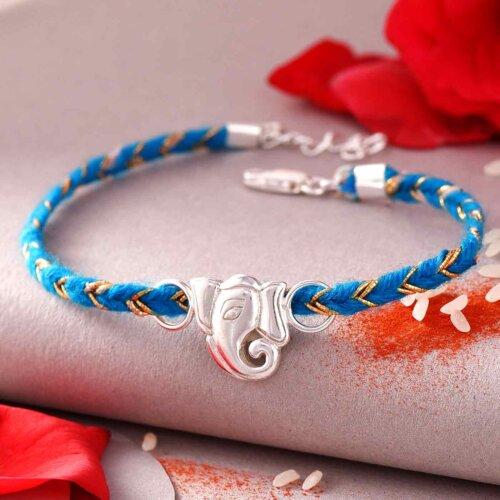 Bracelet Style Silver Ganpati Rakhi