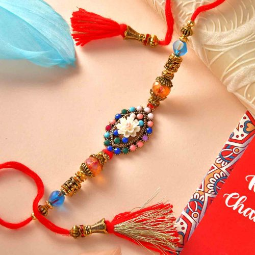 Colorful Beads Rakhi With Gems & Mint Chocolate Bar (100 Gms), Coffe Biscottis (300gm)