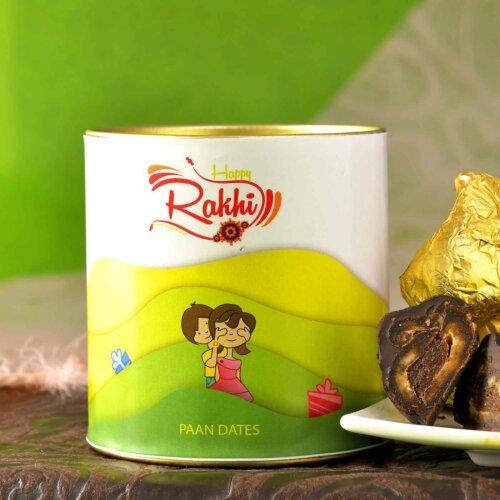 Designer Peacock Rakhi With Handmade Chocolate Paan Dates (100 Gms)