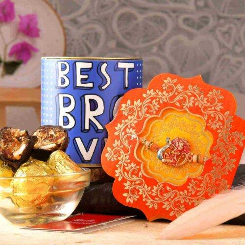 Ganpati Rakhi With Chocolate Dipped Khajoor Laddoo (100 Gms)