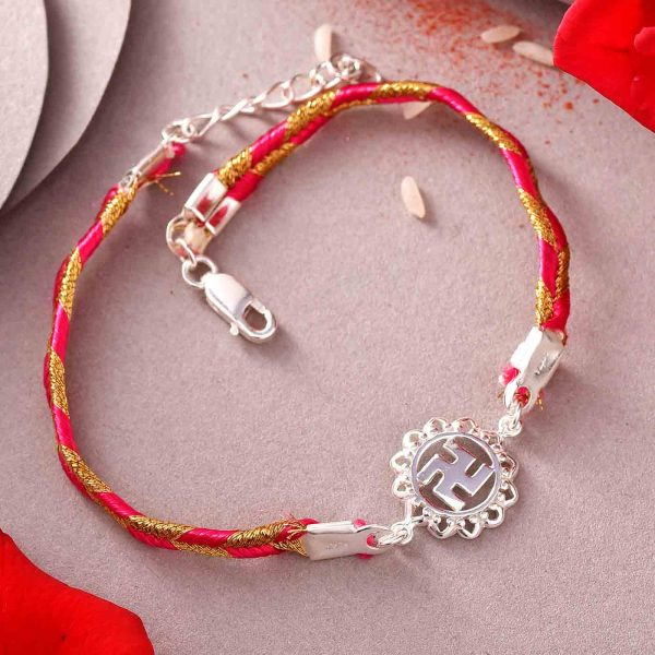 Sterling Silver Swastik Rakhi In A Bracelet Style
