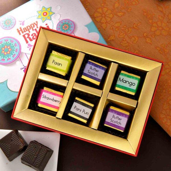 Handmade Assorted Chocolate Box (6 Piece )Flavours :Hazelnut , Paan ,Mango,Butter scotch , Pani puri, Strawberry