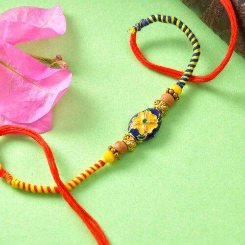 Colorful Beads Rakhi With Handmade Roasted Almond Chocolate Bar & Almond Cookies (300gm)