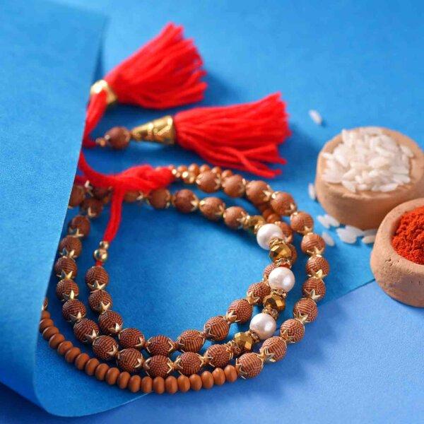 Rudraksha Rakhi With White Pearls