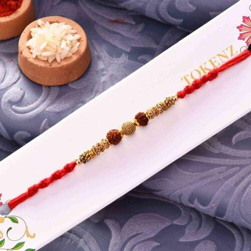 Gold Work Rudraksha Rakhi