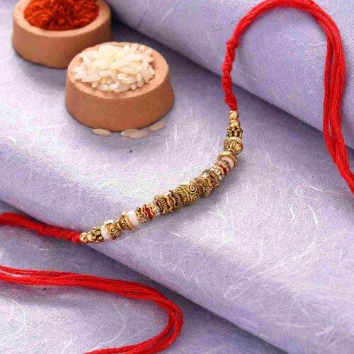 Golden Beaded Work Rakhi