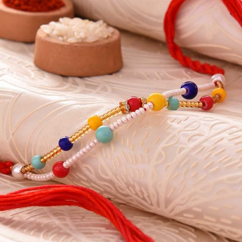 Colorful Pearls Rakhi With Golden & White Beads