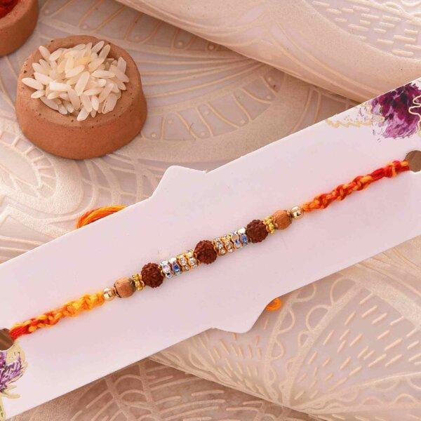 Rudraksha Rakhi With Shiny Beads