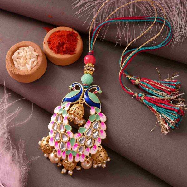Royal Peacock Rakhi and Lumba Set