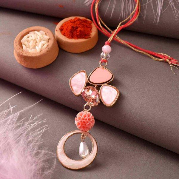 Pink Saphire Rakhi Lumba Set