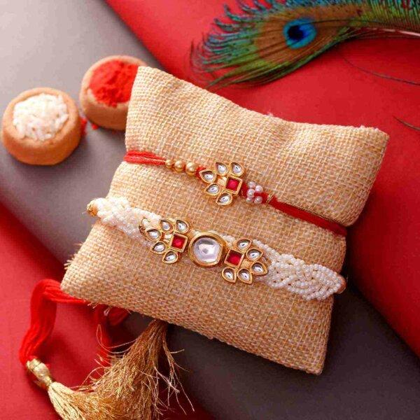 Pearl and Kundan Bhaiya Bhabhi Rakhi Set