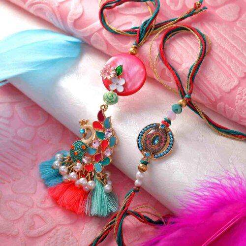 Bedazzled Peacock Rakhi ands Lumba Set