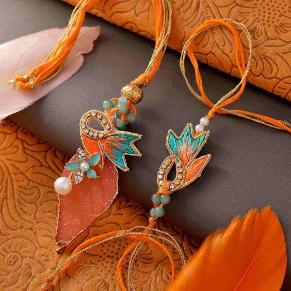 Autumn Leaf Rakhi Lumba Set